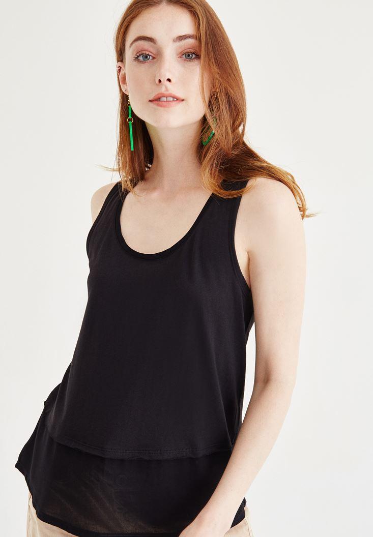 Siyah Tül Detaylı Bluz