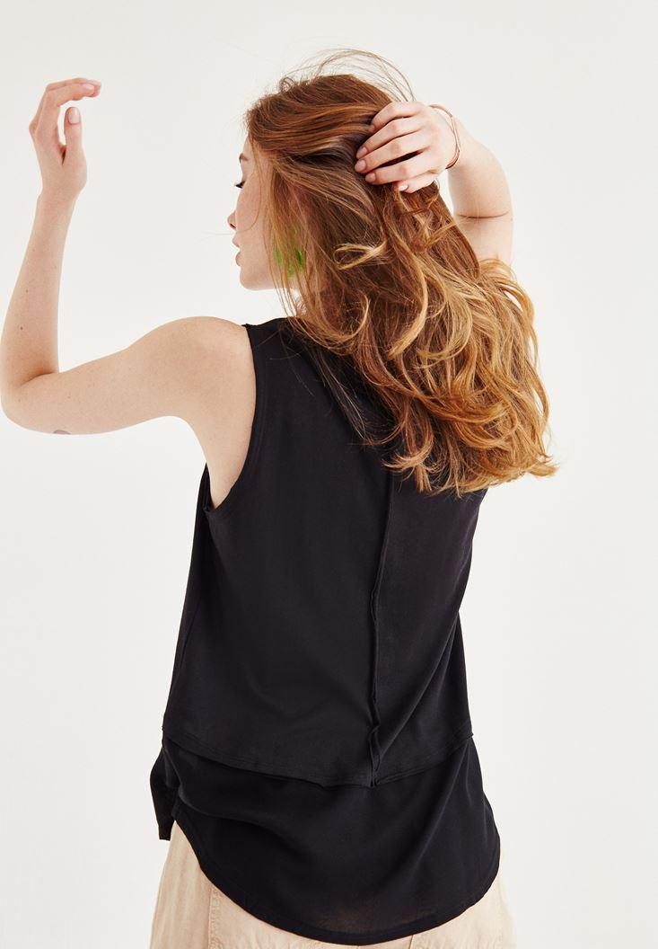 Bayan Siyah Tül Detaylı Bluz