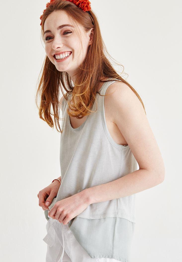Krem Tül Detaylı Bluz