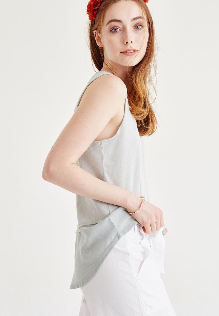 Bayan Gri Tül Detaylı Bluz