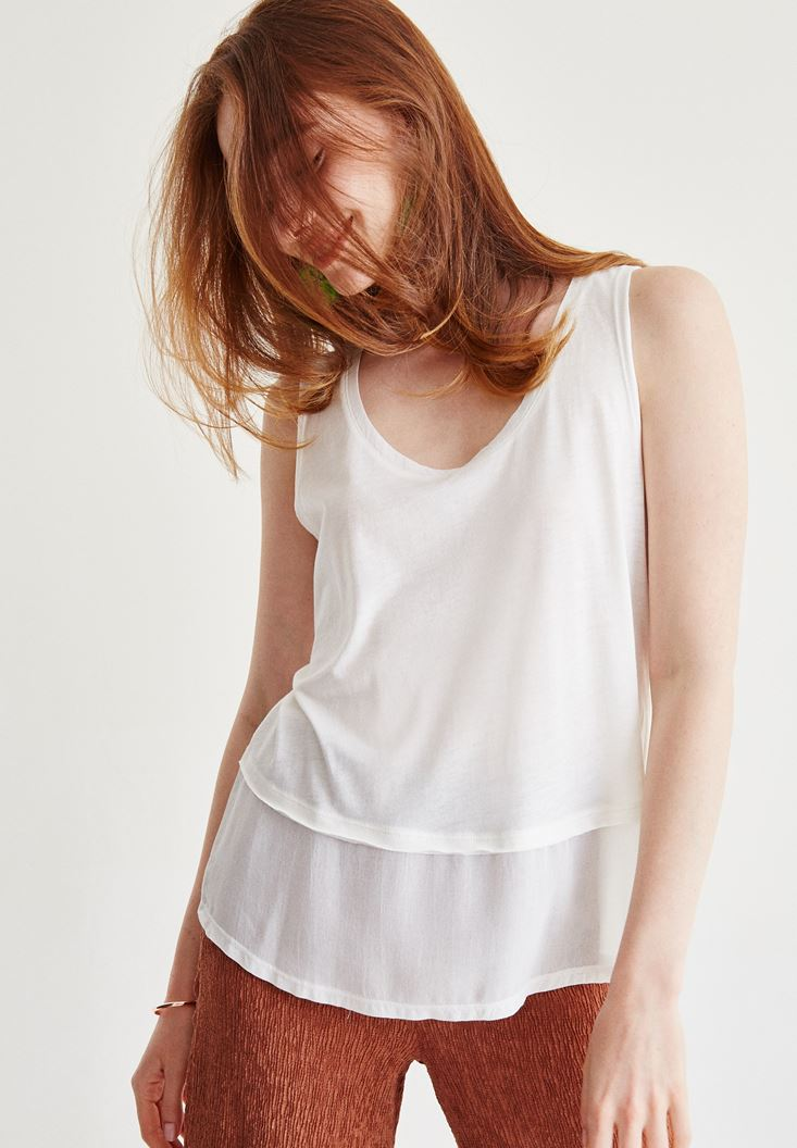 Cream Blouse With Tulle Detail