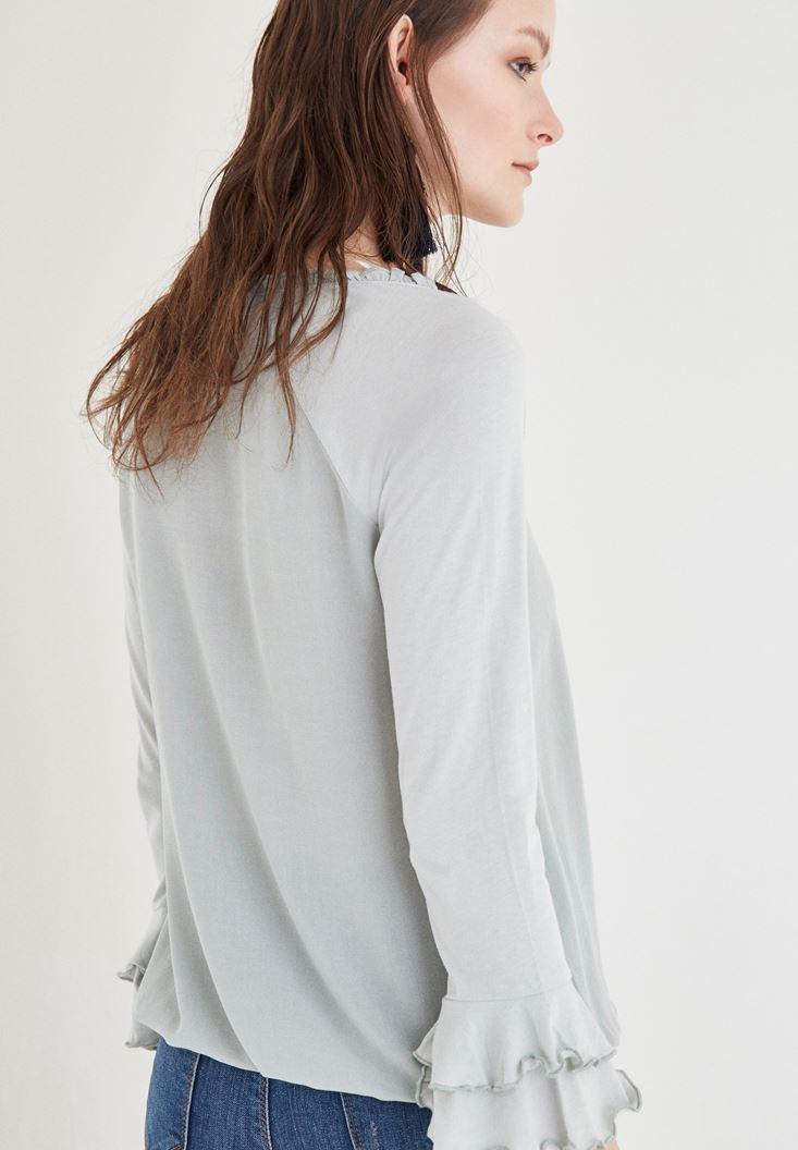 Bayan Gri Yaka Detaylı Bluz