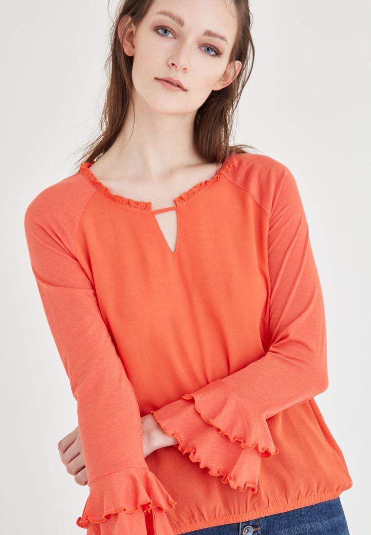 Bayan Turuncu Yaka Detaylı Bluz