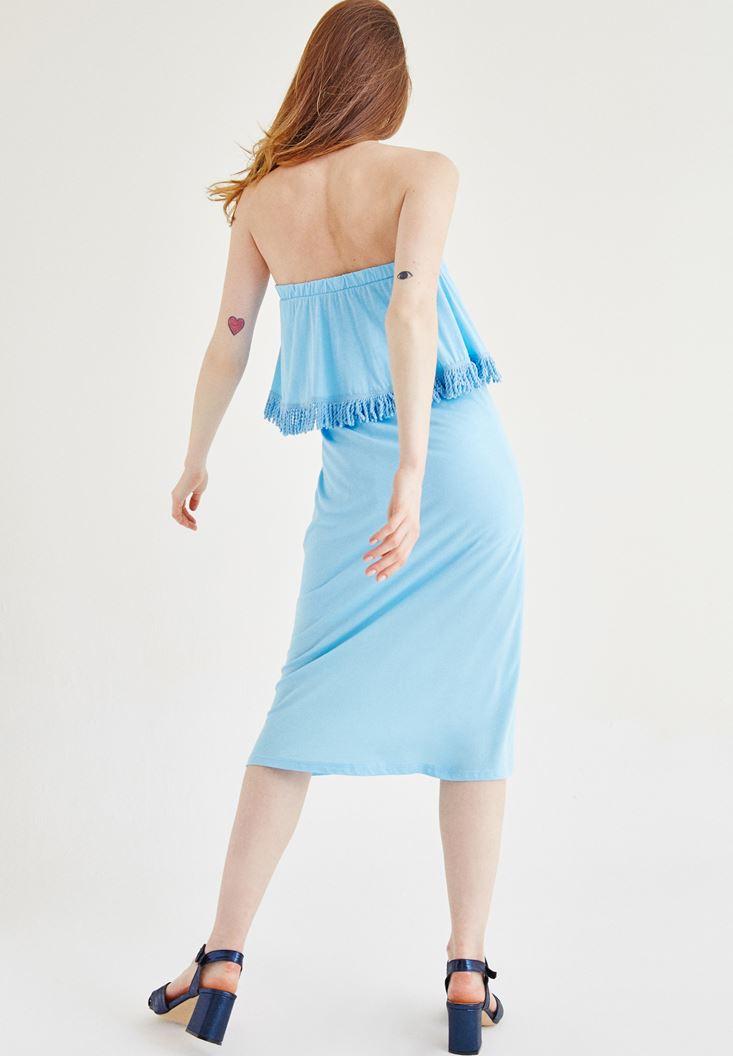 Bayan Mavi Straplez Elbise