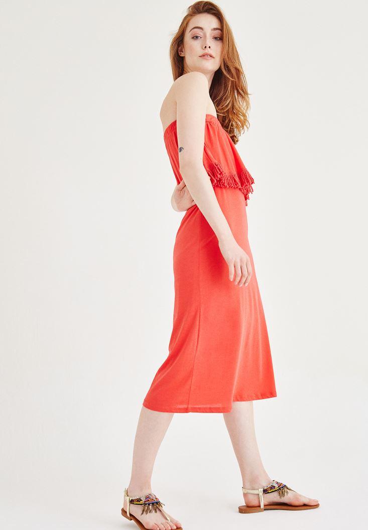 Kırmızı Straplez Elbise