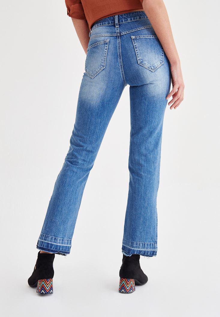 Bayan Mavi Bol Paça Jean