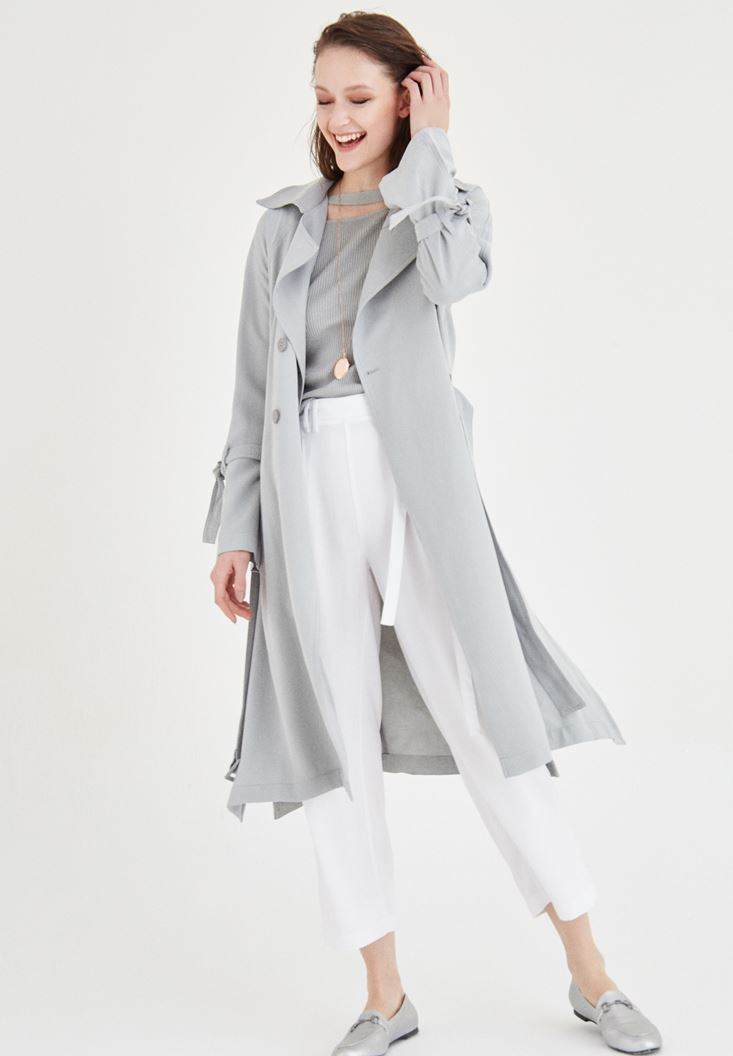Grey Trenchcoat With Belt Detailed