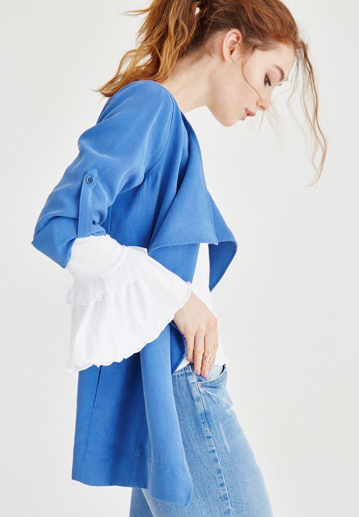 Mavi Şal Yaka Ceket