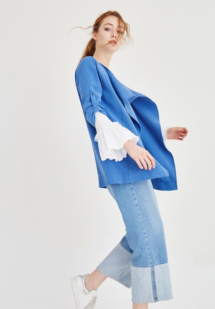 Şal Yaka Ceket ve Fırfırlı Bluz Kombini