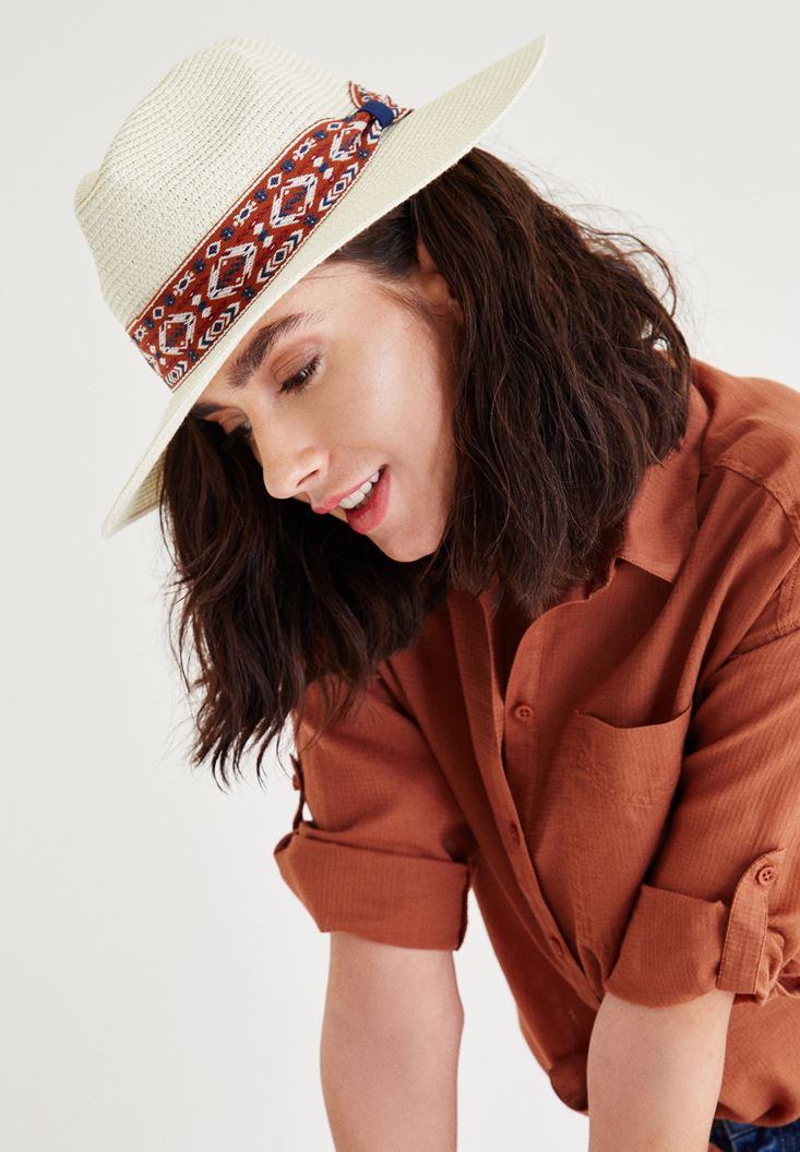 Krem Etnik Desen Detaylı Hasır Şapka