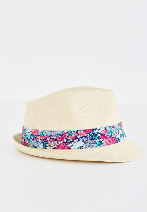 Krem Çiçek Desenli Hasır Şapka