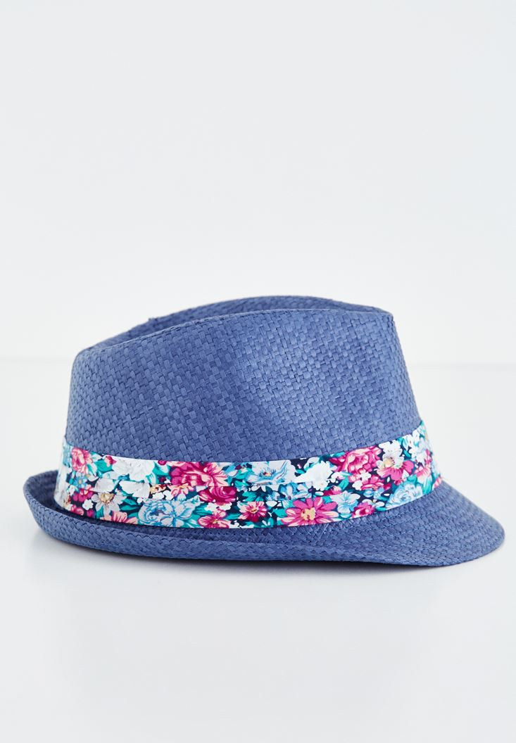Lacivert Çiçek Desenli Hasır Şapka