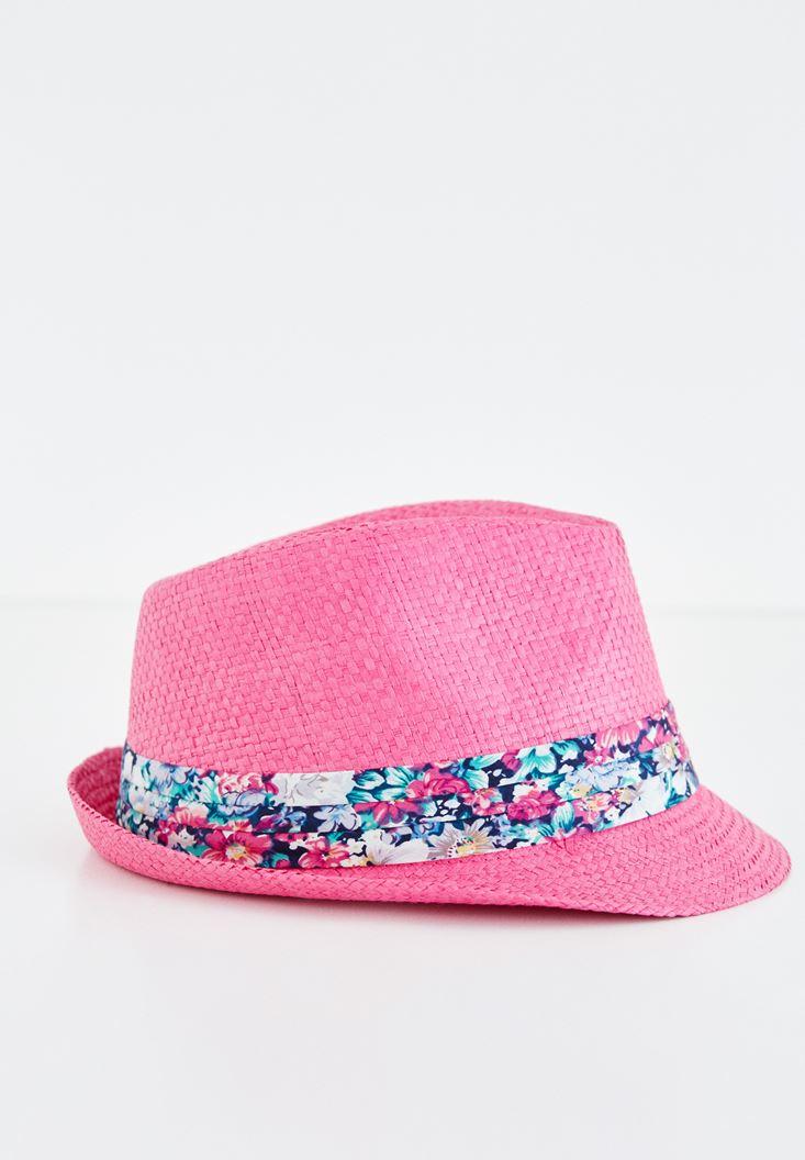 Pembe Çiçek Desenli Hasır Şapka