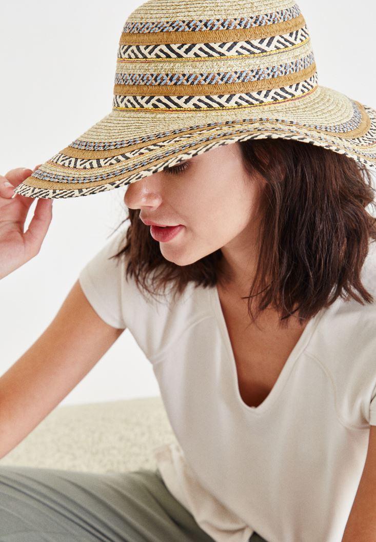 Pembe Desenli Hasır Şapka