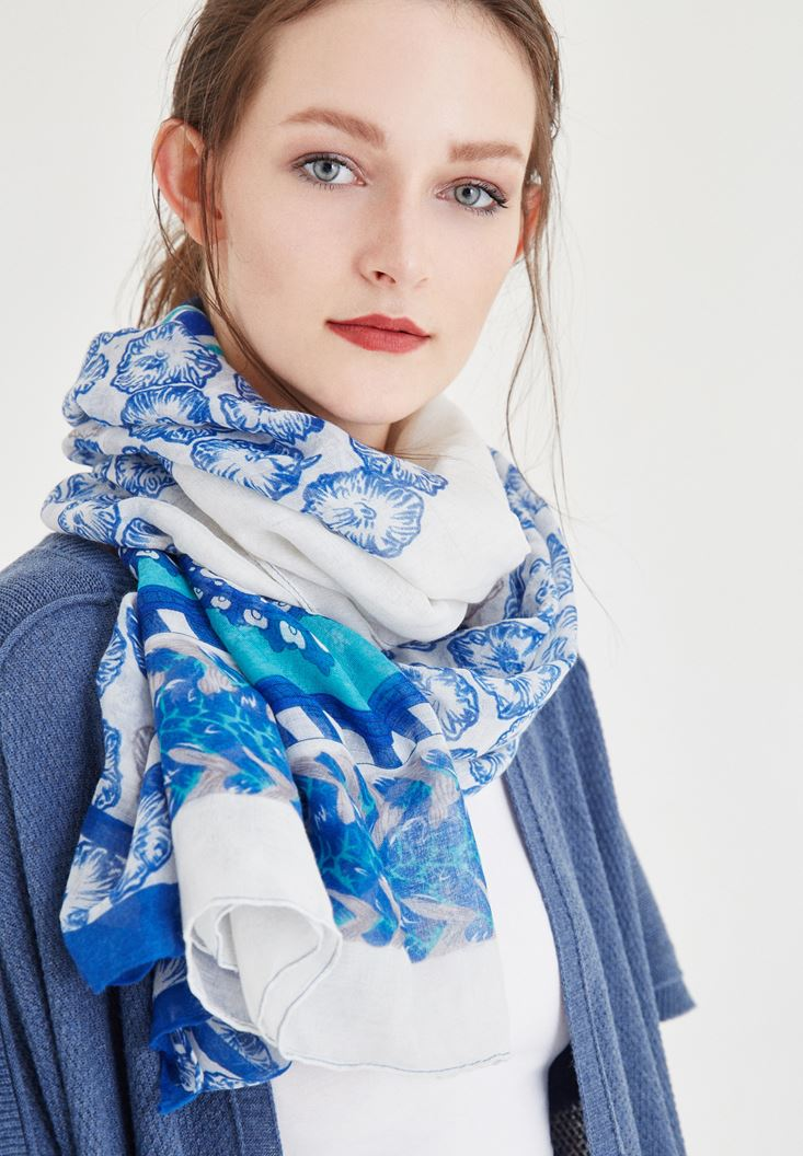 Bayan Mavi Desenli Şal