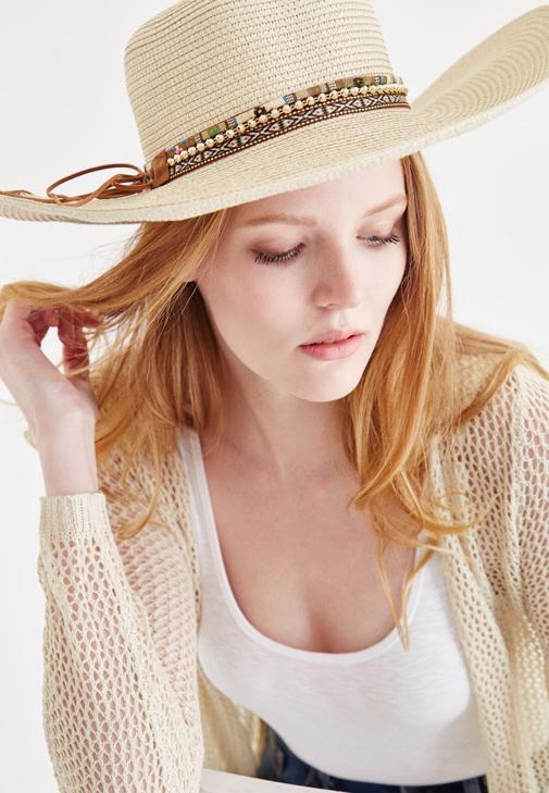 Krem Zincir Detaylı Hasır Şapka