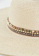 Bayan Krem Zincir Detaylı Hasır Şapka