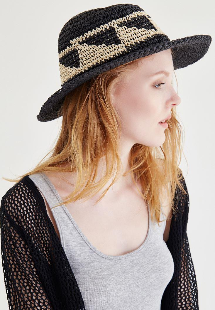 Siyah Geometrik Desenli Hasır Şapka