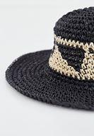 Bayan Siyah Geometrik Desenli Hasır Şapka