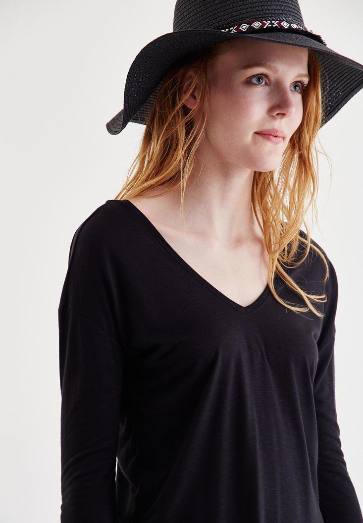 Bayan Siyah Etnik Desenli Hasır Şapka