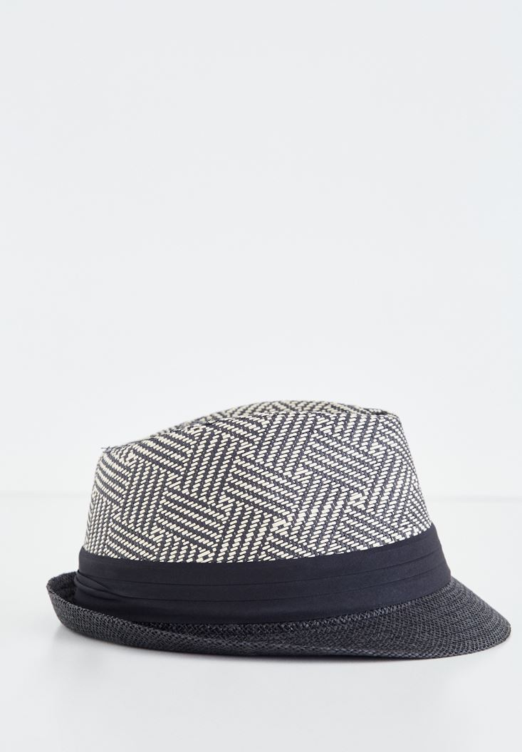 Black Straw Hat With Stripped Detail