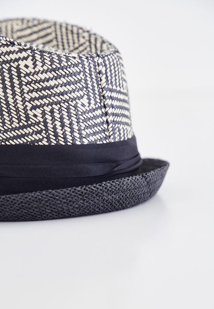 Bayan Siyah Çizgi Desenli Hasır Şapka