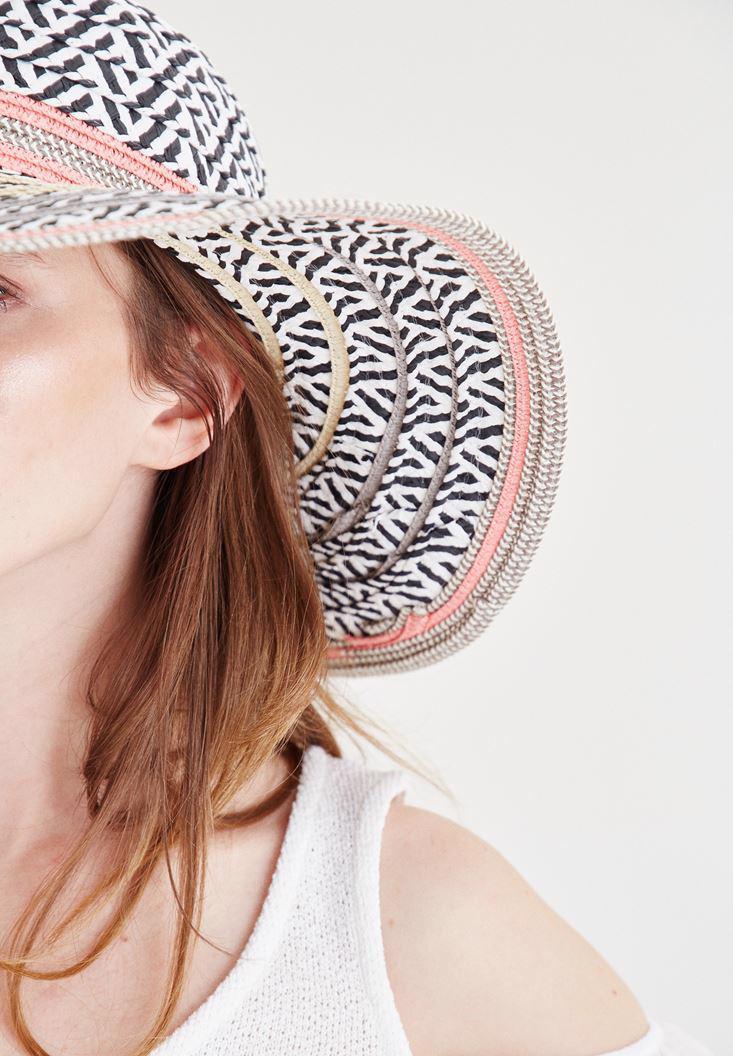Bayan Pembe Desenli Hasır Şapka