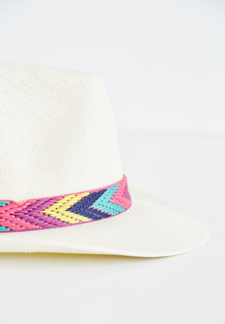 Etnik Desenli Hasır Şapka