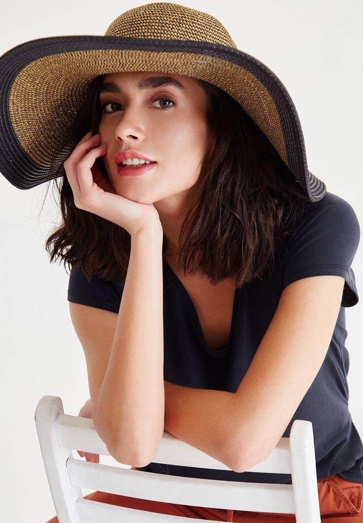 Bayan Altın Siyah Detaylı Hasır Şapka
