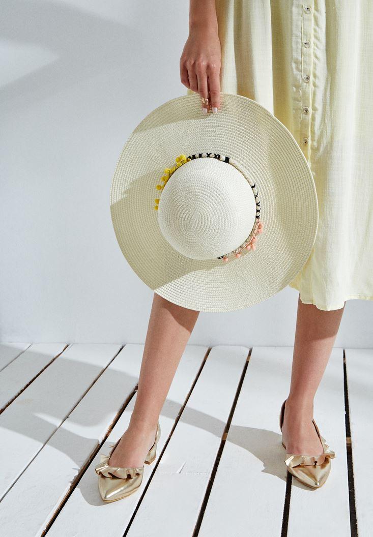 Krem Ponpon Detaylı Hasır Şapka