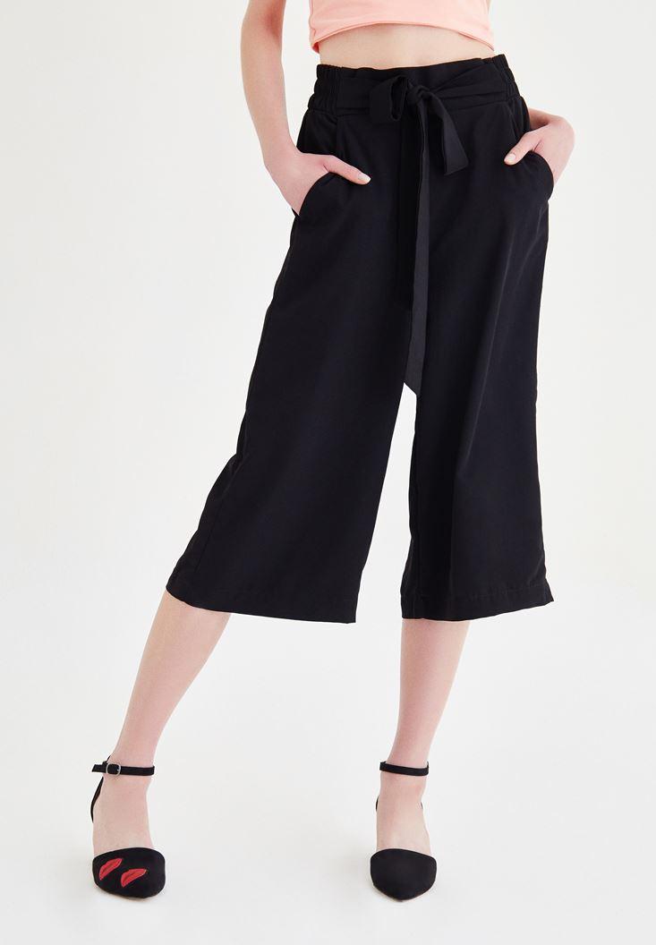 Bayan Siyah Culotte Pantolon