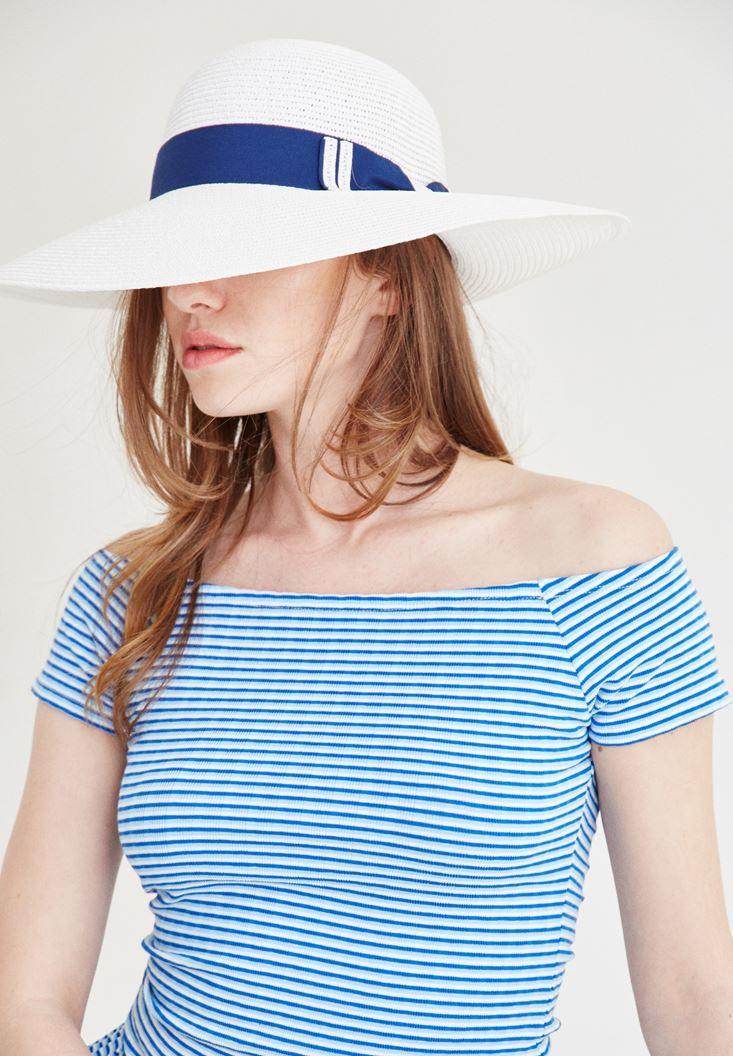 Beyaz Kuşak Detaylı Şapka