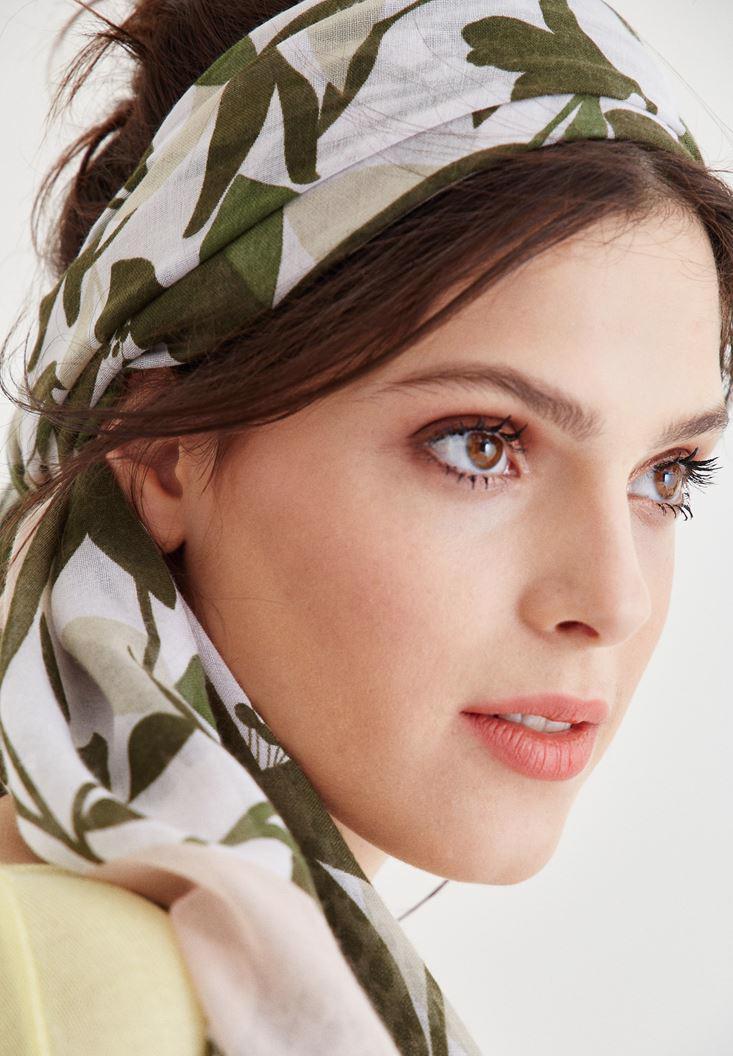 Bayan Krem Benek ve Çiçek Desenli Şal