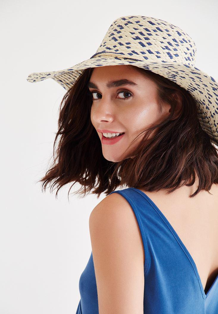 Bayan Mavi İp Detaylı Hasır Şapka
