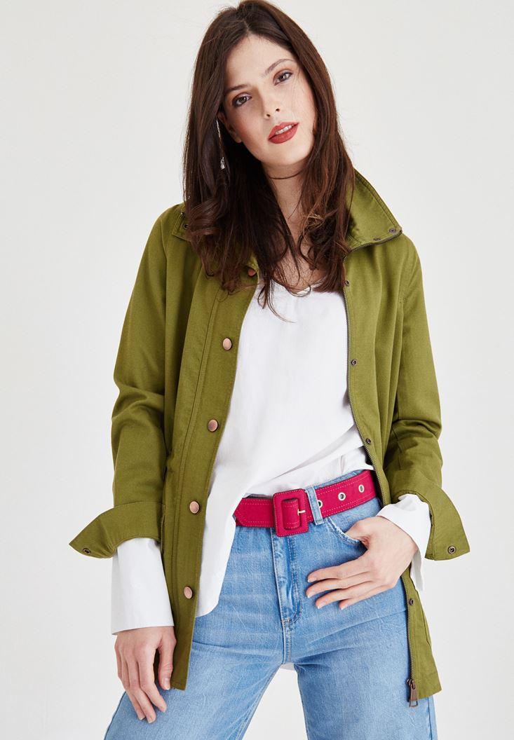 Yeşil Beli Büzgülü Ceket