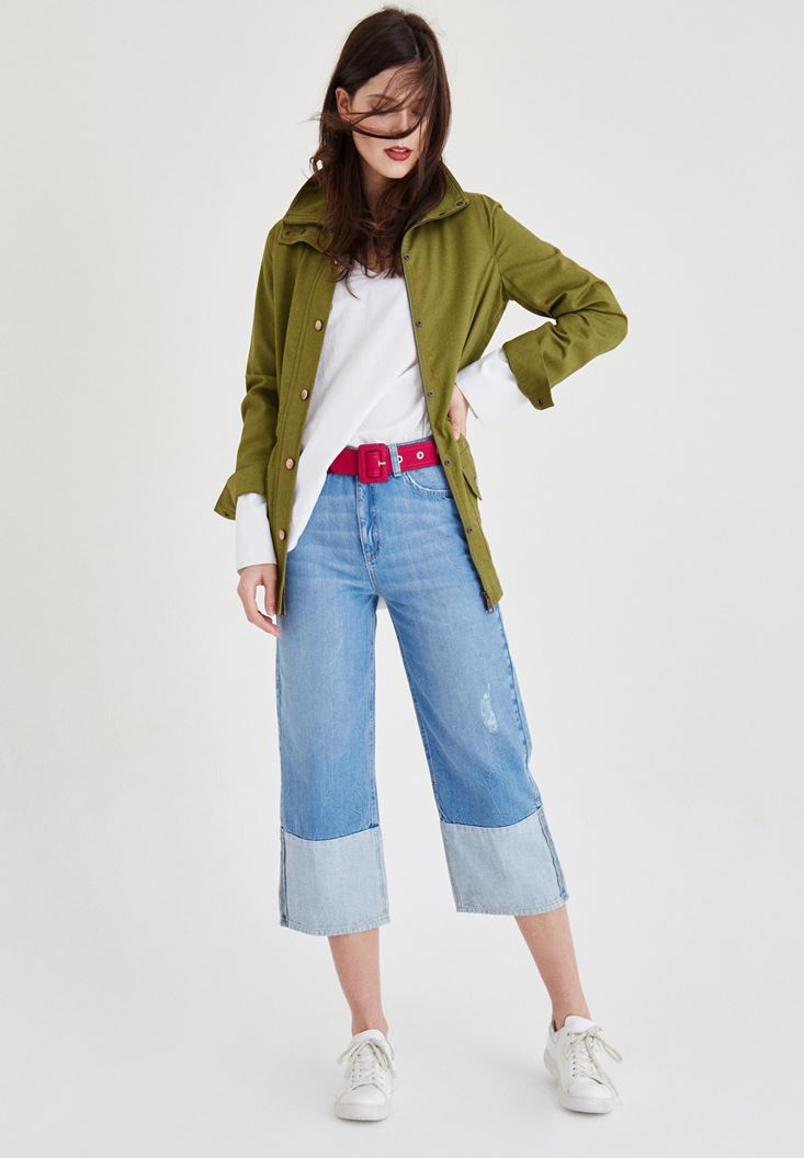 Ceket ve Bol Kesim Pantolon Kombini