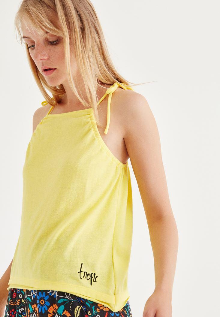Sarı Askılı Bluz