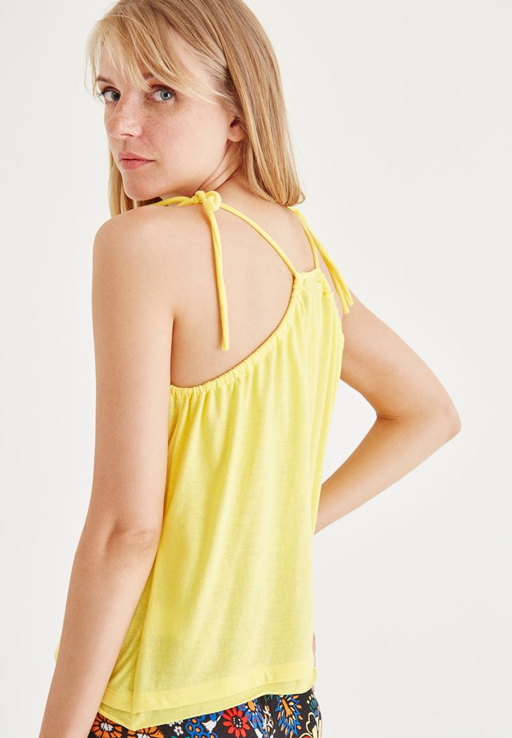 Bayan Sarı Askılı Bluz
