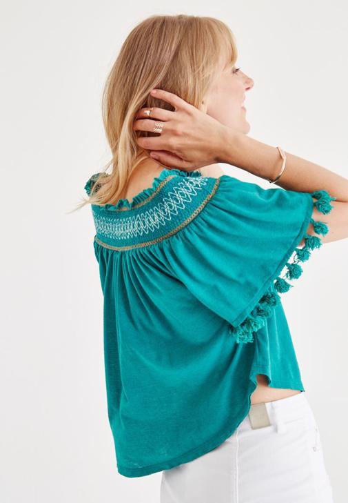 Yeşil Düşük Omuzlu Bluz