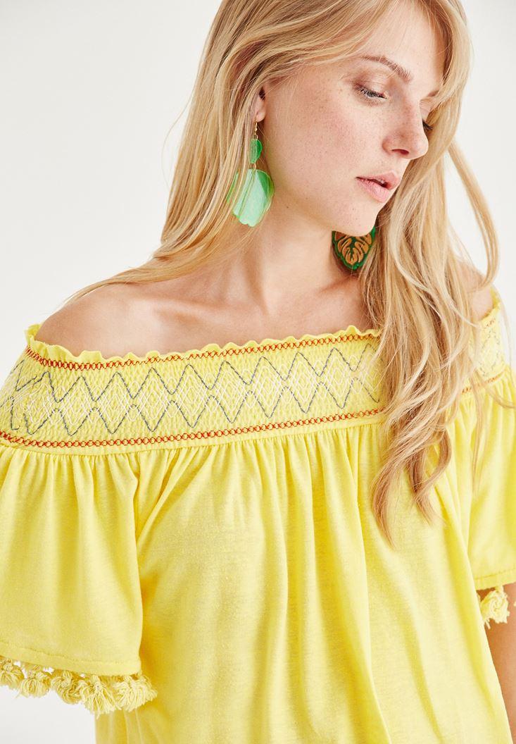 Sarı Düşük Omuzlu Bluz