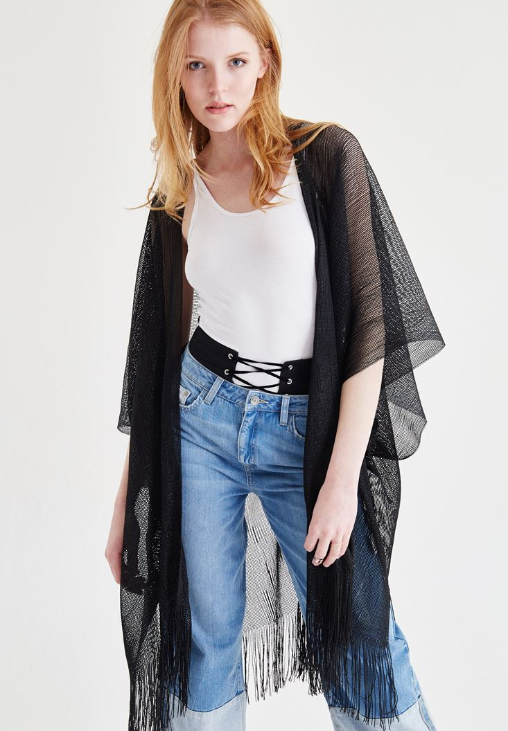 Black Mesh Kimono With Tasseled Detail