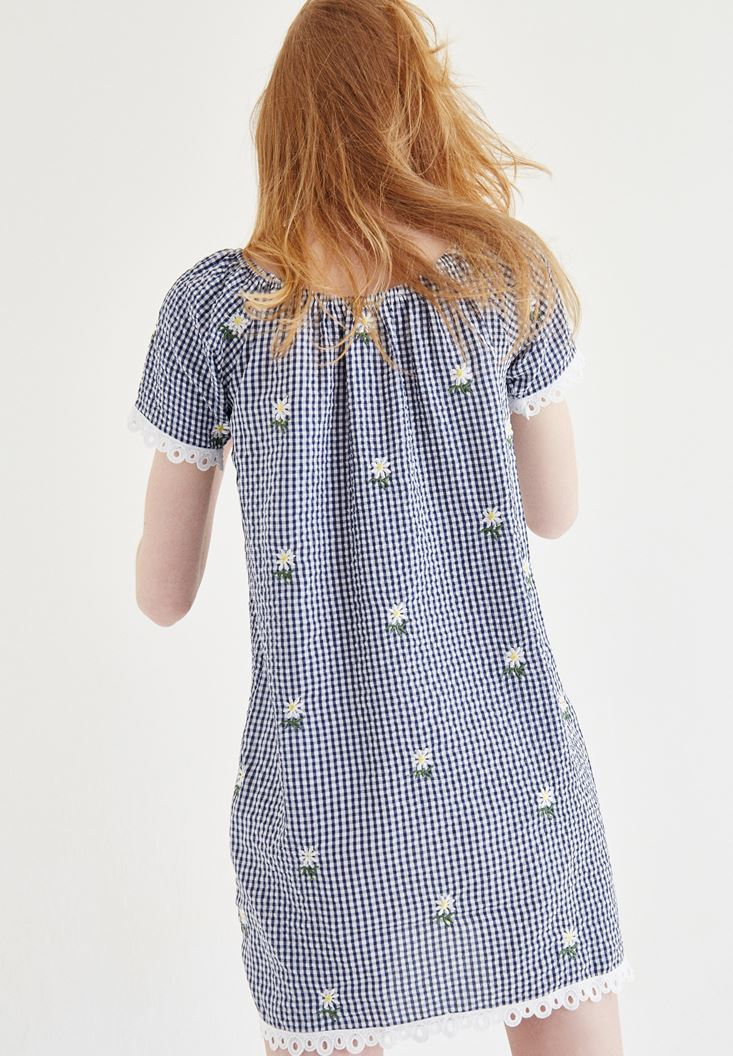 Mixed Mini Dress With Flower Patterned