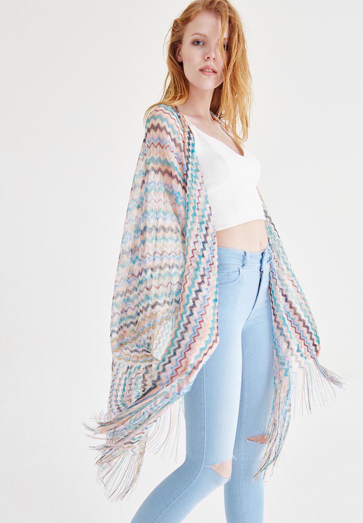Bayan Çok Renkli Çizgili Püsküllü File Kimono