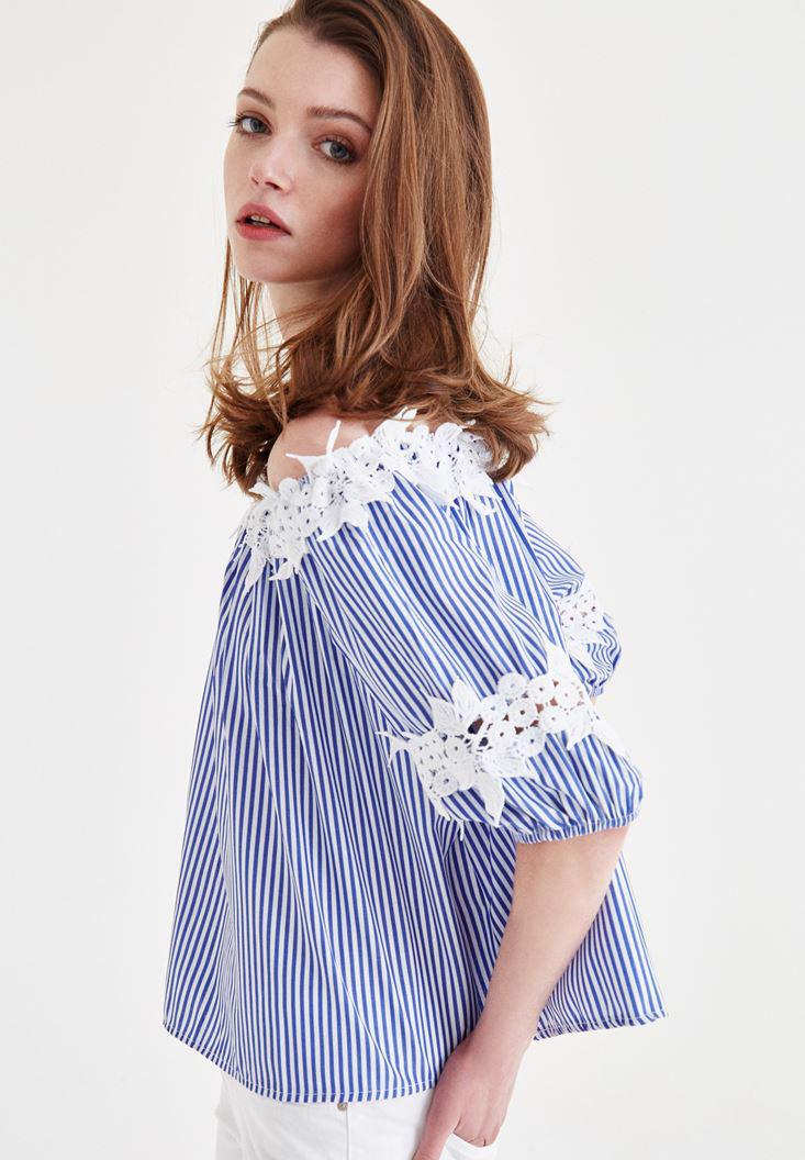 Bayan Mavi Omuzları Açık Çiçekli Bluz