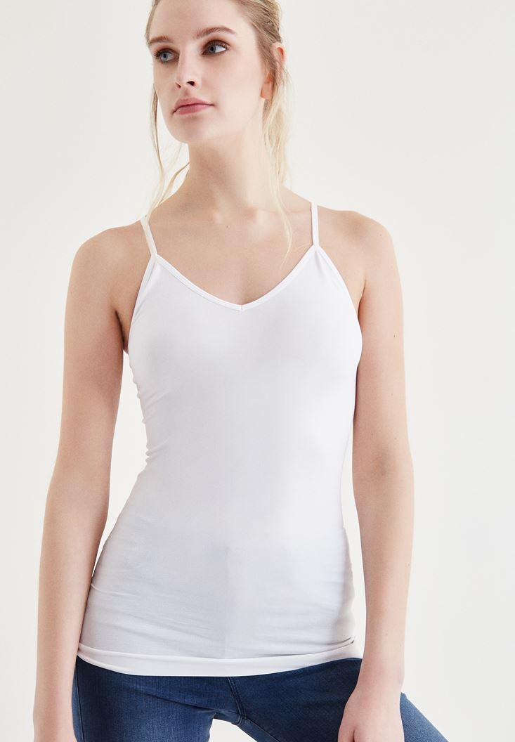 Bayan Beyaz Sırt Detaylı Atlet