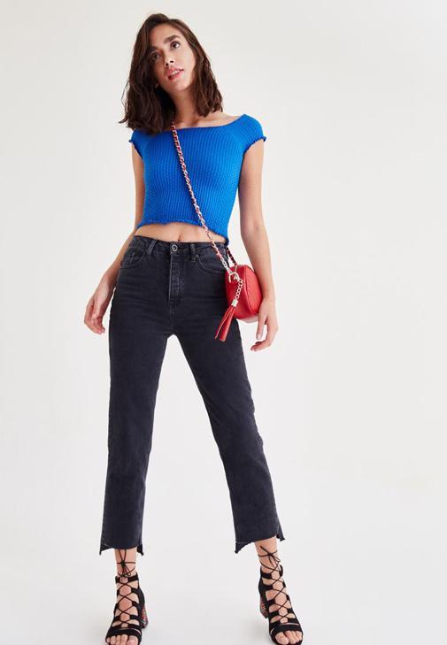 Mavi Lastikli Yarım Bluz