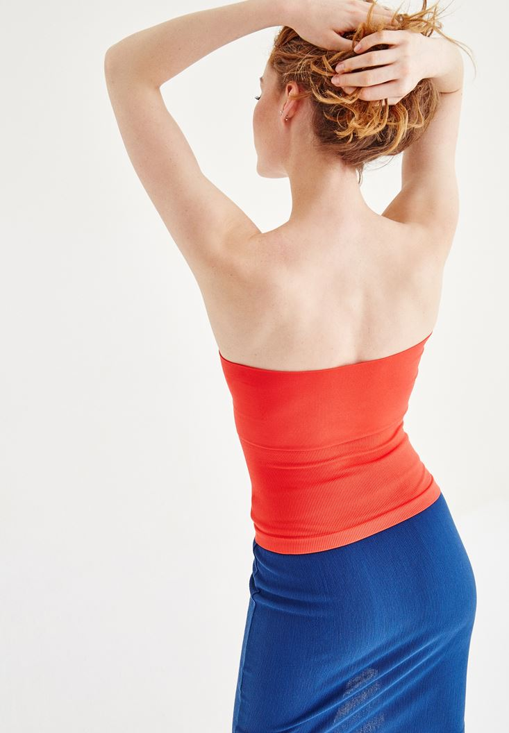 Bayan Kırmızı Straplez Atlet