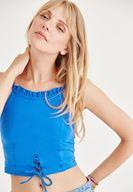 Bayan Mavi Fırfırlı Kısa Bluz