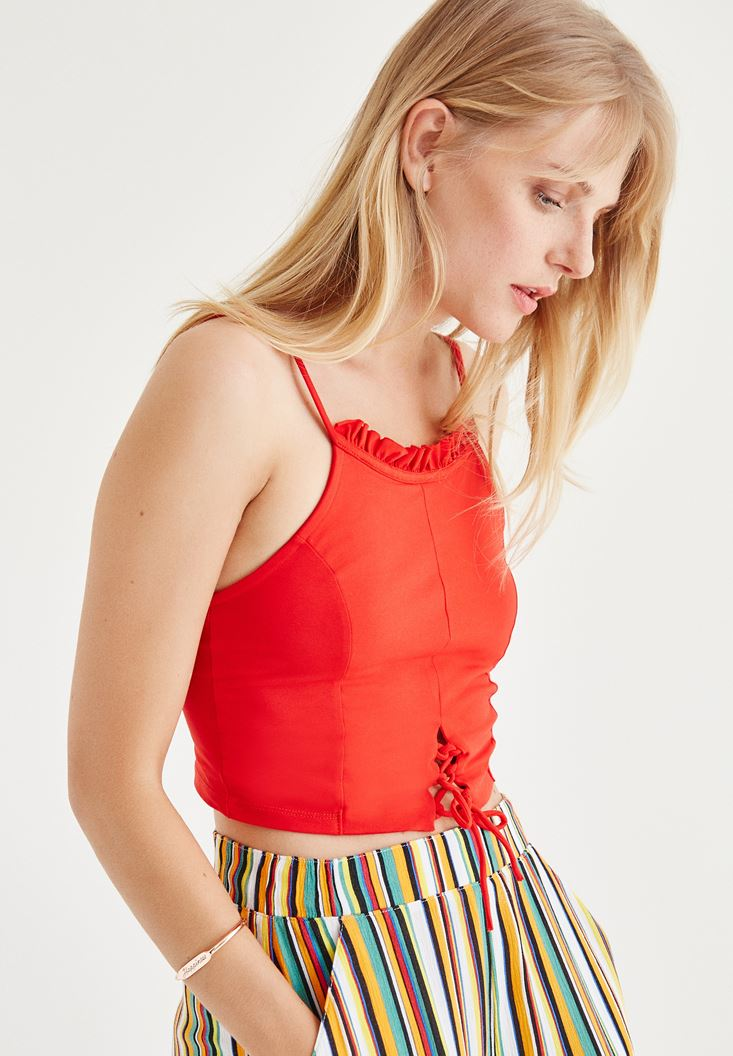Kırmızı Fırfırlı Kısa Bluz