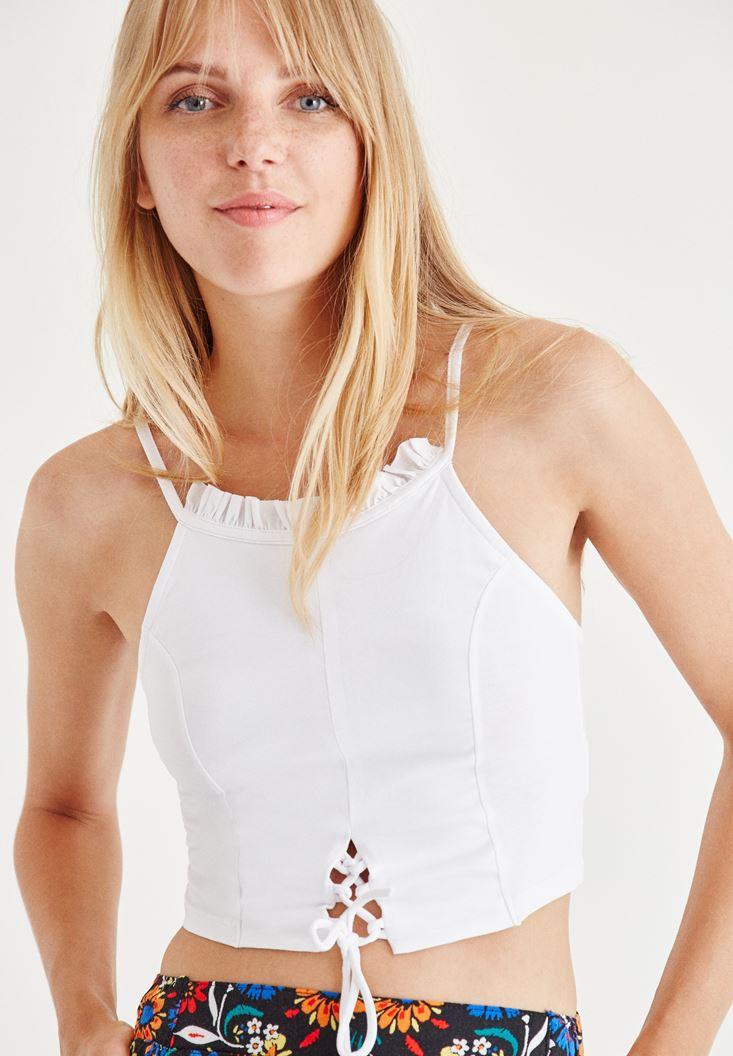 Bayan Beyaz Fırfırlı Kısa Bluz